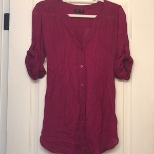 A Pea in the Pod Berry Silk Maternity Blouse Sz. M